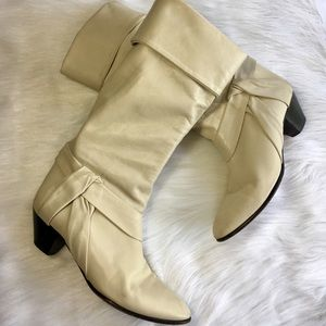 Vintage Slouchy Boots Leather Knee Heeled Cream